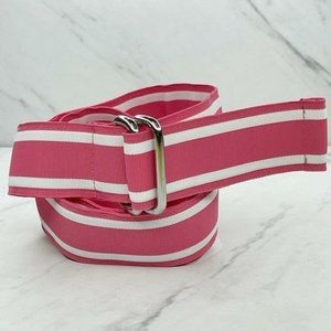 Lands' End Vintage Pink White Ribbon D Ring Belt